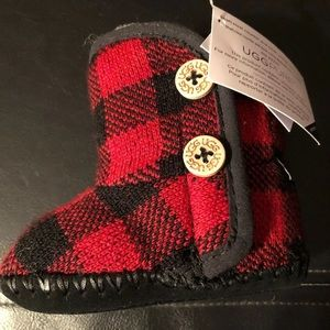 Ugg infant baby booties red buffalo plaid 1